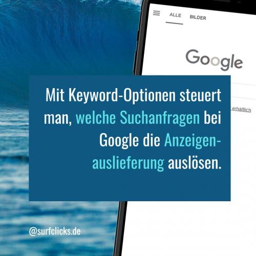 Keyword-Optionen bei Google Ads 2