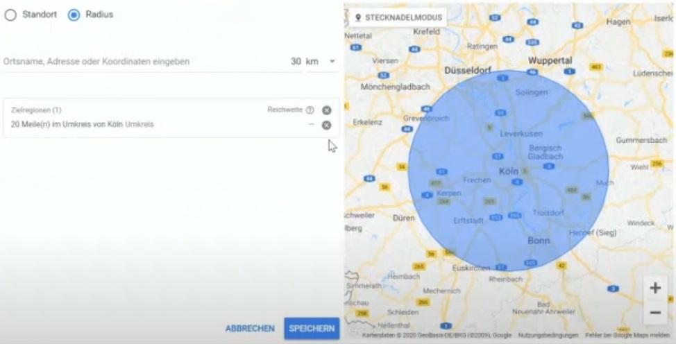 Standortauswahl Google Ads