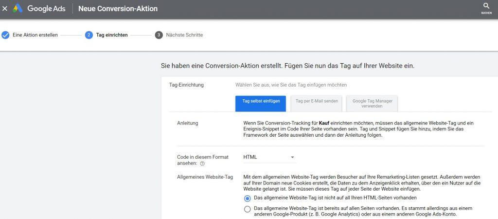 Google Ads Conversion Tag erstellen